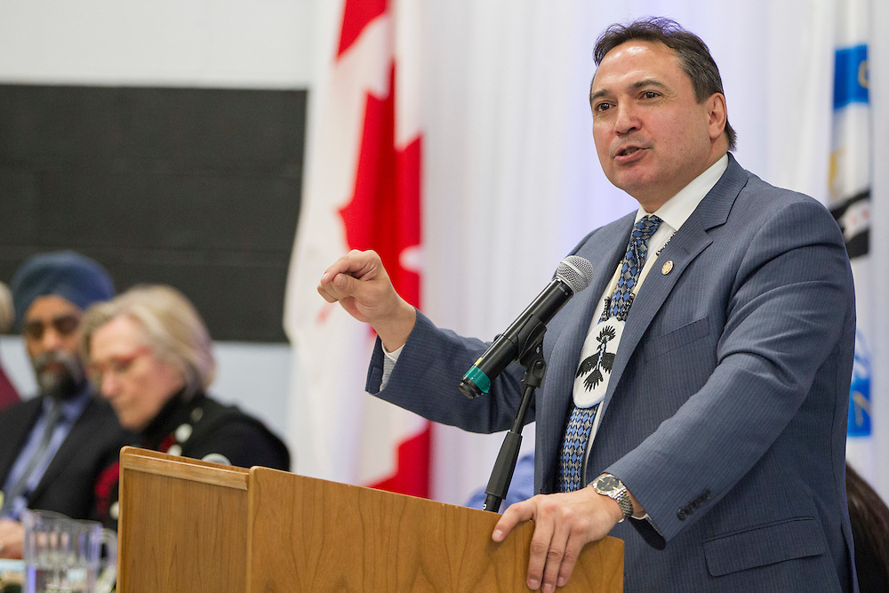 Assembly of First Nations National Chief Perry Bellegarde speaks during the ceremony for the signing of the final settlement agreement between the federal government and the Kettle and Stoney Point First Nation for the Camp Ipperwash Lands, Thursday,  April 14, 2016.<br /> THE CANADIAN PRESS/ Geoff Robins
