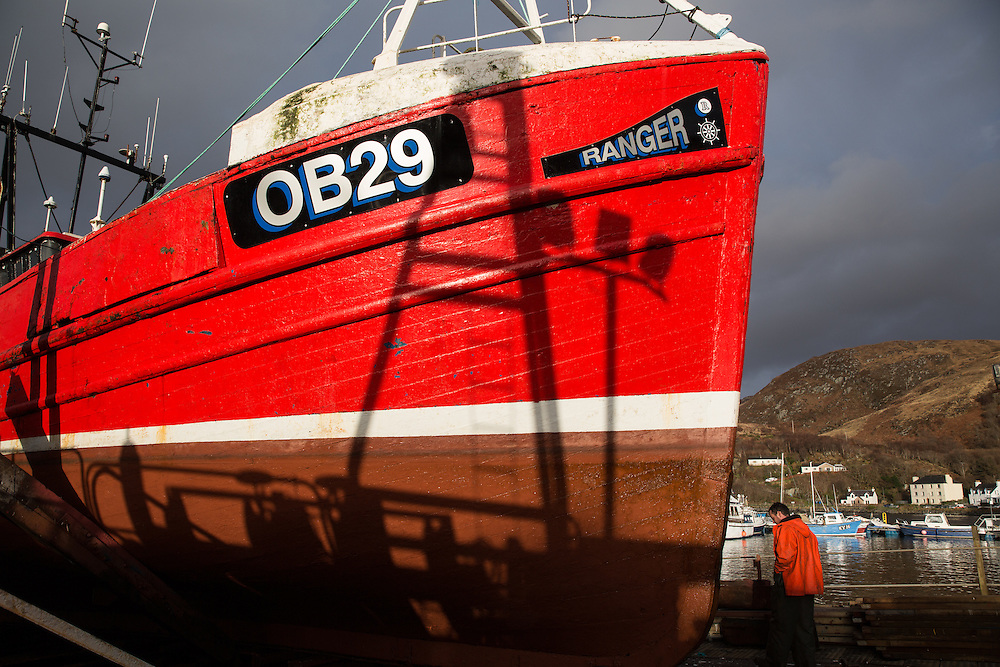 Mallaig Boatyard.  The Ranger on the cradle. Picture Robert Perry 9th April 2016<br /> <br /> Must credit photo to Robert Perry<br /> FEE PAYABLE FOR REPRO USE<br /> FEE PAYABLE FOR ALL INTERNET USE<br /> www.robertperry.co.uk<br /> NB -This image is not to be distributed without the prior consent of the copyright holder.<br /> in using this image you agree to abide by terms and conditions as stated in this caption.<br /> All monies payable to Robert Perry<br /> <br /> (PLEASE DO NOT REMOVE THIS CAPTION)<br /> This image is intended for Editorial use (e.g. news). Any commercial or promotional use requires additional clearance. <br /> Copyright 2014 All rights protected.<br /> first use only<br /> contact details<br /> Robert Perry     <br /> 07702 631 477<br /> robertperryphotos@gmail.com<br /> no internet usage without prior consent.         <br /> Robert Perry reserves the right to pursue unauthorised use of this image . If you violate my intellectual property you may be liable for  damages, loss of income, and profits you derive from the use of this image.