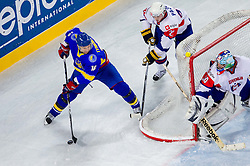 Oleg Tymchenko of Ukraine vs Rok Pajic of Slovenia and Robert Kristan of Slovenia during ice-hockey match between Slovenia and Ukraine at IIHF World Championship DIV. I Group A Slovenia 2012, on April 19, 2012 in Arena Stozice, Ljubljana, Slovenia. (Photo by Vid Ponikvar / Sportida.com)