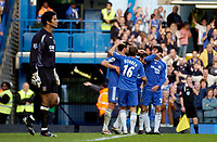 Photo: Daniel Hambury.<br />Chelsea v Portsmouth. The Barclays Premiership. 21/10/2006.<br />Portsmouth's goal keeper David James, who made several great saves,  can only watch as Chelsea celebrate their second goal.