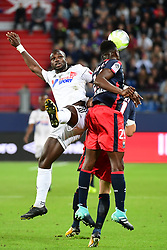September 23, 2017 - Caen, Saxony, Frankrike - 170923, Fotboll, Franska Ligan, Caen - Amiens: (L-R) Moussa Donate of Amiens and Romain Genevois of Caen during the Ligue 1 match between SM Caen and Amiens SC at Stade Michel D'Ornano on September 23, 2017 in Caen, France . (Photo by Dave Winter/Icon Sport).© BildbyrÅ'n - COP 75 - SWEDEN ONLY (Credit Image: © Dave Winter/Bildbyran via ZUMA Wire)