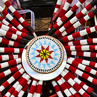 Native American war bonnet at ceremonial Pow Wow