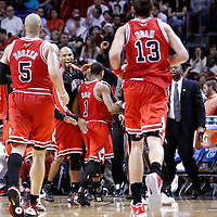 06 March 2010: Chicago Bulls forward Taj Gibson (22) celebrates with Chicago Bulls point guard Derrick Rose (1) during the Chicago Bulls 87-86 victory over the Miami Heat at the AmericanAirlines Arena, Miami, Florida, USA.