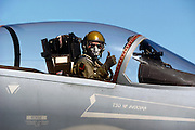 F-15 pilot thumbs, Hawaii Air Guard.  Note rifle scope for spotting adversary.