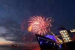 Fireworks display to mark Queen's 90th birthday at the Royal Yacht Britannia.  Britannia Visitor Centre, Leith quay, Edinburgh<br /> (c) Brian Anderson | Edinburgh Elite media
