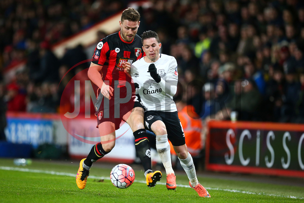 Simon Francis of Bournemouth tackles Bryan Oviedo of Everton - Mandatory by-line: Jason Brown/JMP - Mobile 07966 386802 20/02/2016 - SPORT - FOOTBALL - Bournemouth, Vitality Stadium - AFC Bournemouth v Everton - The Emirates FA Cup