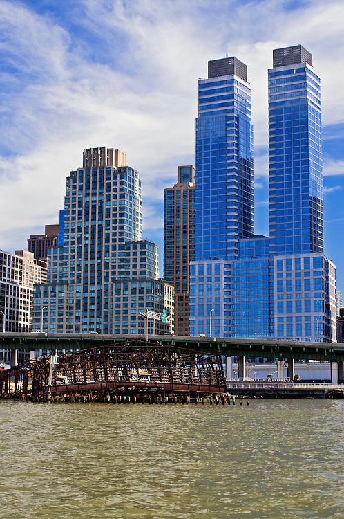 Trump PLace,  Riverside South Park, Upper West Side,  Manhattan, New York City, New York, USA Riverside South, West Side Highway, abandoned pier, Manhattan, New York City, New York, USA