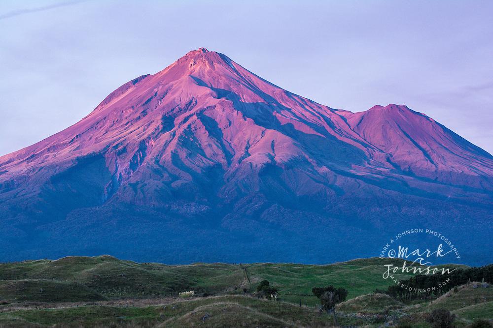 Mt. Taranaki with dusk glow, Egmont National Park, North Island, New Zealand