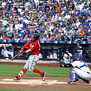 Bryce Harper, Washington Nationals, hits a single off pitcher Jacob deGrom, New York Mets, in the first inning during the New York Mets Vs Washington Nationals. MLB regular season baseball game at Citi Field, Queens, New York. USA. 1st August 2015. (Tim Clayton for New York Daily News)