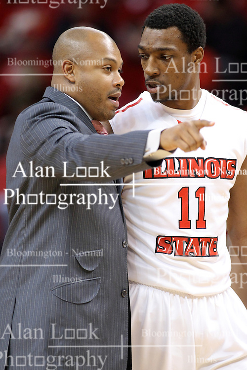 14 February 2015:   Torrey Ward and MiKyle McIntosh discuss situation during a time out during an NCAA MVC (Missouri Valley Conference) men's basketball game between the Wichita State Shockers and the Illinois State Redbirds at Redbird Arena in Normal Illinois