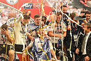 Fulham celebrate after beating Aston Villa and securing promotion to the Premier League during the EFL Sky Bet Championship play-off final match between Fulham and Aston Villa at Wembley Stadium, London, England on 26 May 2018. Picture by Jon Hobley.
