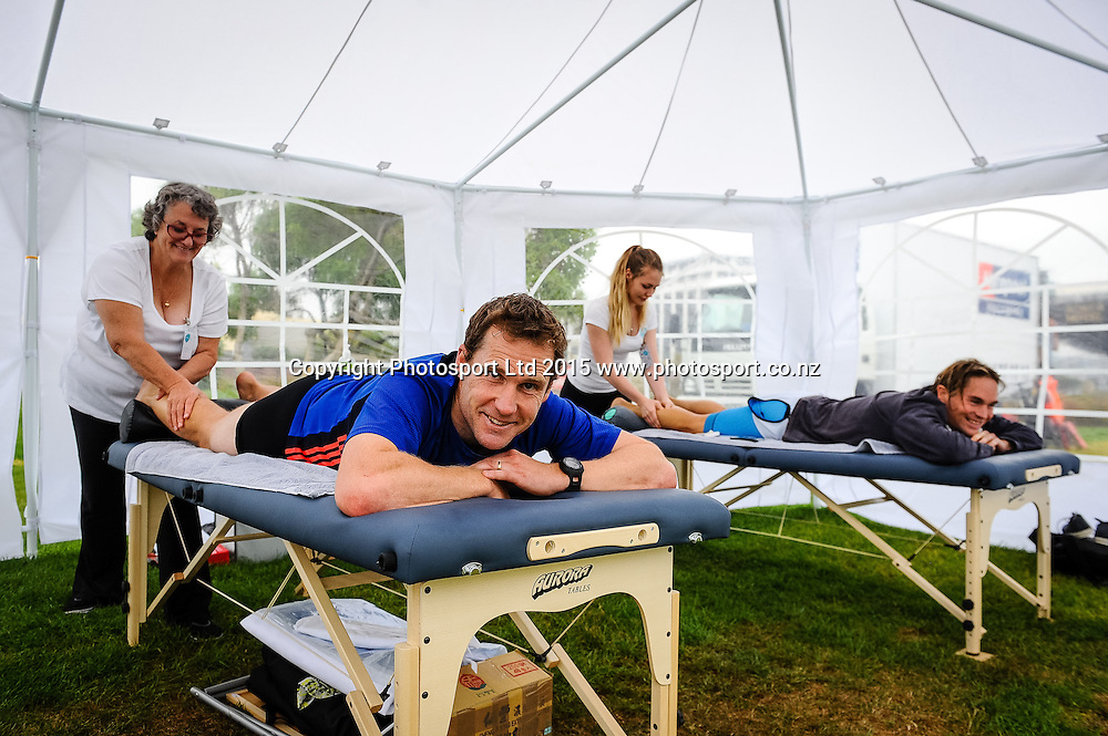 Athletes get massages after finishing the Sovereign Tri Series, Waterfront, Wellington, New Zealand. Saturday 14 March 2015. Copyright Photo: Mark Tantrum/www.Photosport.co.nz