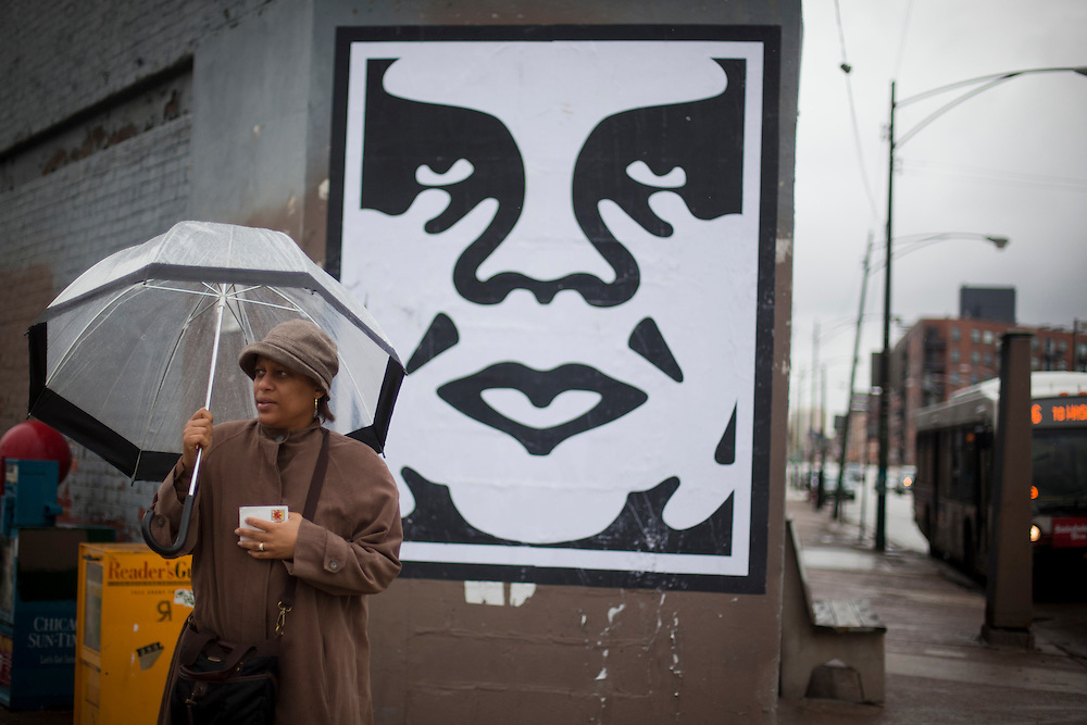 The Obey Giant done by Shepard Fairey seen in Chicago, Illinois in April of 2011. Street art as it is found and photographed around the various neighborhoods of Chicago, Illinois.