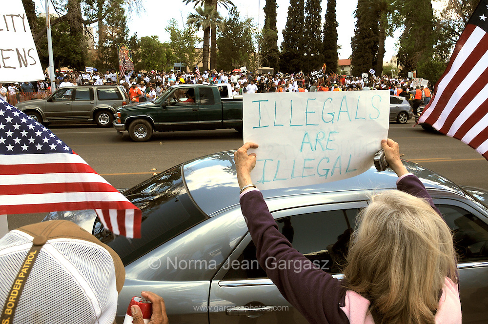 About 6,000 people marched in the La Gran Marcha on May 1, 2010, to Armory Park in Tucson, Arizona, USA. The focus of the march was the protest of the controvsial bill SB1070, which addresses illegal immigration.  About 25 supporters of the bill gathered across from Armory Park.