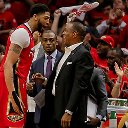 May 4, 2018; New Orleans, LA, USA; New Orleans Pelicans forward Anthony Davis (23) and head coach Alvin Gentry talk during the fourth quarter in game three of the second round of the 2018 NBA Playoffs against the Golden State Warriors at Smoothie King Center. The Pelicans defeated the Warriors 119-100. Mandatory Credit: Derick E. Hingle-USA TODAY Sports