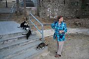 /EN/ Night falls and Marta comes to feed Vaquita and other wild cats from the mountain. /ES/ Al atardecer, Marta sube al barrio para alimentar a Vaquita y los demás gatos salvajes de la montaña.