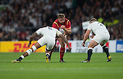 Twickenham, Great Britain,    Wales' Tomas FRANCIS goes fro the gap between, Left Courtney LAWES and Tom YOUNGS, during the Pool A Game, England vs Wales.  2015 Rugby World Cup, Venue, The RFU Stadium, Twickenham, Surrey, ENGLAND. Saturday   26/09/2015  [Mandatory Credit; Peter Spurrier/Intersport-images]