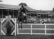 "07/08/1980<br /> 08/07/1980<br /> 07 August 1980<br /> R.D.S. Horse Show: John Player Top Score Competition, Ballsbridge, Dublin. Eddie Macken (Ireland) on ""Carroll's Spotlight""."