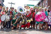 A bunch of hons and members of the Wild Anacostias band pose for a photo at Honfest 2018 on Sunday, June 11, 2018 in Baltimore, MD.