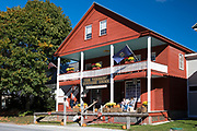 Tourists at the traditional and quaint Vermont Country Store which sells food, souvenirs and gifts in Weston, Vermont, New England, USA