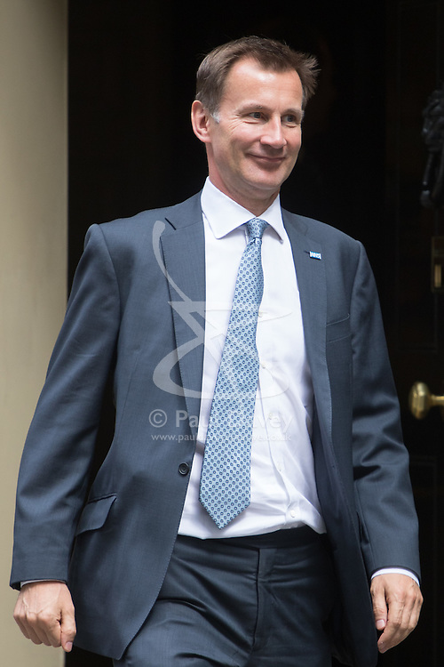Downing Street,  London, June 27th 2015. Health Secretary Jeremy Hunt leaves the first post-Brexit cabinet meeting at 10 Downing Street.