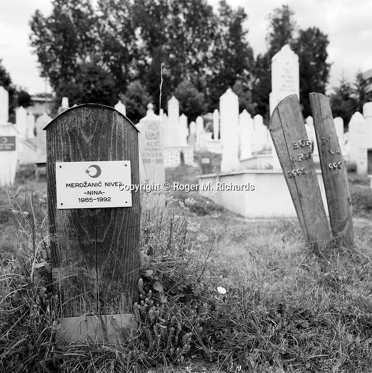 Graves at Lion Cemetery in Sarajevo, July 2008.