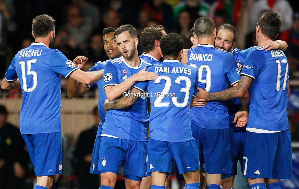 Photo LaPresse - Spada<br /> May 03 , 2017  , Monaco <br /> Sport Soccer<br /> Monaco - Juventus <br /> Champions League 2016 2017 <br /> In the pic: celebrates after scoring , higuain 0-2