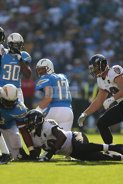 Baltimore Ravens linebacker Dannell Ellerbe (59) sacks San Diego Chargers quarterback Philip Rivers (17) during an NFL game on Sunday, November 25, 2012 in San Diego, CA.  (Photo by Jed Jacobsohn)