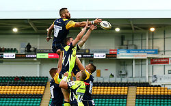 Matt Cox of Worcester Warriors contests the line out - Mandatory by-line: Robbie Stephenson/JMP - 28/07/2017 - RUGBY - Franklin's Gardens - Northampton, England - Sale Sharks v Worcester Warriors - Singha Premiership Rugby 7s