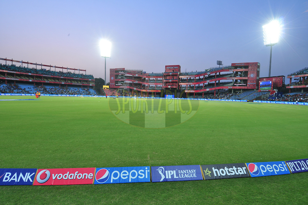 GV during match 21 of the Pepsi IPL 2015 (Indian Premier League) between The Delhi Daredevils and The Mumbai Indians held at the Ferozeshah Kotla stadium in Delhi, India on the 23rd April 2015.<br /> <br /> Photo by:  Arjun Panwar / SPORTZPICS / IPL