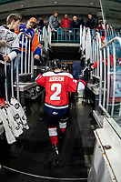 KAMLOOPS, CANADA - NOVEMBER 5: Calen Addison #3 of Team WHL exits the ice after warm up against the Team Russia  on November 5, 2018 at Sandman Centre in Kamloops, British Columbia, Canada.  (Photo by Marissa Baecker/Shoot the Breeze)