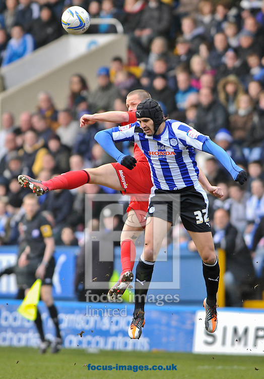 Picture by Richard Land/Focus Images Ltd +44 7713 507003.16/03/2013.Miguel Llera of Sheffield Wednesday and Heidar Helguson of Cardiff City during the npower Championship match at Hillsborough, Sheffield.
