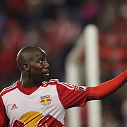 HARRISON, NEW JERSEY- APRIL 24: Bradley Wright-Phillips #99 of New York Red Bulls celebrates with supporters after scoring his first goal of the night during the New York Red Bulls Vs Orlando City MLS regular season match at Red Bull Arena, Harrison, New Jersey on April 24, 2016 in New York City. (Photo by Tim Clayton/Corbis via Getty Images)