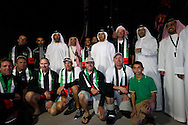 UAE. 4th January 2012. Volvo Ocean Race, Leg 2, arrival into Abu Dhabi. Arrivals ceremony. Highness Sheikh Sultan Bin Tahnoon Al Nahyan, Chairman of Abu Dhabi Tourism Authority with the crew of Abu Dhabi Ocean Racing.