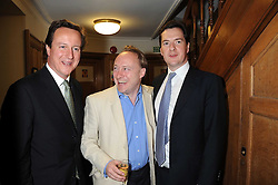 Left to right, DAVID CAMERON MP, ANDREW ROBERTS and GEORGE OSBORNE MP at the Spectator Summer Party held at 22 Old Queen Street, London SW1 on 3rd July 2008.<br />