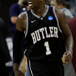 Mar 26, 2011; New Orleans, LA; Butler Bulldogs guard Shelvin Mack (1) celebrates following a win over the Florida Gators in the semifinals of the southeast regional of the 2011 NCAA men's basketball tournament against the Florida Gators at New Orleans Arena. Butler defeated Florida 74-71.  Mandatory Credit: Derick E. Hingle