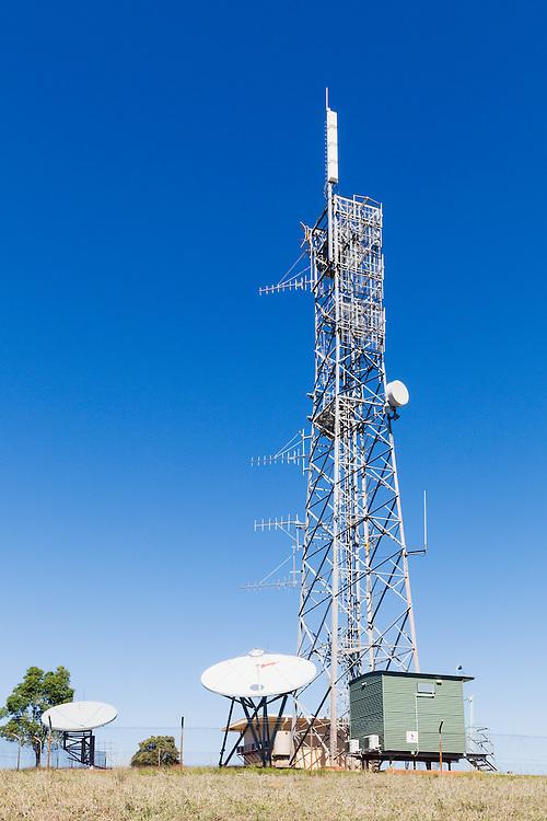 rural television broadcast transmission site with satelitte downlink antennas at Mulgildie, Queensland, Australia