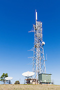 rural television broadcast transmission site with satelitte downlink antennas at Mulgildie, Queensland, Australia