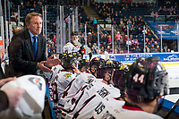 KELOWNA, CANADA - OCTOBER 21: Portland Winterhawks' head coach Mike Johnston rallies the team from the bench against the Kelowna Rockets on October 21, 2017 at Prospera Place in Kelowna, British Columbia, Canada.  (Photo by Marissa Baecker/Shoot the Breeze)  *** Local Caption ***
