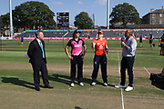 Captains Suzie Bates (2nd left) and Heather Knight (2nd from right) at the toss before the international T20 between England Women and the White Ferns at the Brightside Ground, Bristol. Photo: Graham Morris/www.photosport.nz 28/06/18 NZ USE ONLY