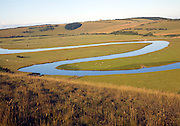 Large looping meanders on the River Cuckmere, East Sussex, England
