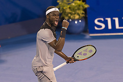 February 22, 2018 - Delray Beach, FL, United States - Delray Beach, FL - February 22: Francis Tiafoe (USA) celebrates after defeating Juan Martin Del Potro (ARG) 76(6) 46 75 at the 2018 Delray Beach Open held at the Delray Beach Tennis Center in Delray Beach, Florida.   Credit: Andrew Patron/Zuma Wire (Credit Image: © Andrew Patron via ZUMA Wire)