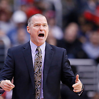 23 November 2013: Sacramento Kings head coach Michael Malone reacts during the Los Angeles Clippers 103-102 victory over the Sacramento Kings at the Staples Center, Los Angeles, California, USA.