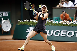 June 1, 2018 - Paris, Ile-de-France, France - Caroline Wozniacki of Denmark reacts during the ladies singles third round match against Pauline Parmentier of France during day six of the 2018 French Open at Roland Garros on June 1, 2018 in Paris, France. (Credit Image: © Mehdi Taamallah/NurPhoto via ZUMA Press)