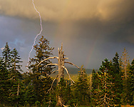Lightning strike and double rainbow, Tahoe National Forest, Sierra County, California