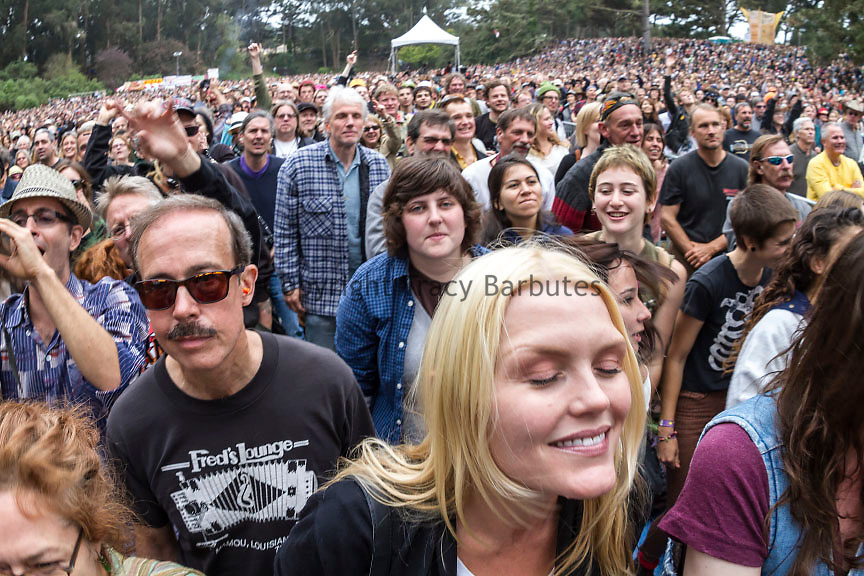 A crowd listens to Patti Smith at San Francisco's Hardly Strictly Bluegrass festival in Golden Gate Park