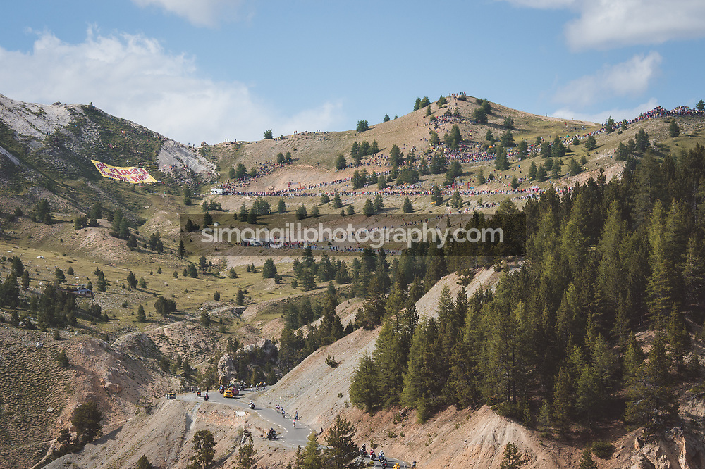 July 20th 2017, Briancon - Izoard, France; Cycling, Tour de France, Stage 18; The yellow jersey group make their way up the Col d'Izoard.