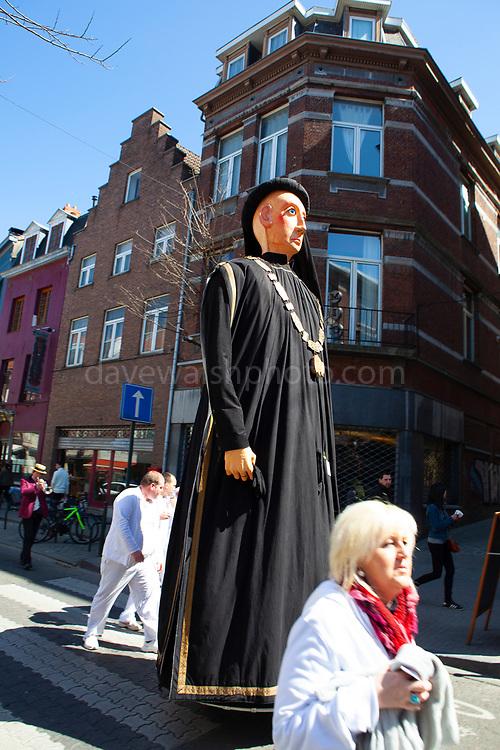 Philip the Good - Philippe le Bon. Geants du quartier Bruegel, Brussels. Parade of giants on Rue Haute, Brussels