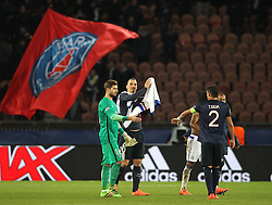Kevin Trapp ( L ), Zlatan Ibrahimovic ( 2nd L ), and Thiago Silva of Paris Saint-Germain celebrate after their side win the match - Mandatory byline: Paul Terry/JMP - 16/02/2016 - FOOTBALL - Parc des Princes - Paris, England - PSG v Chelsea - UEFA Champions League - Round of 16 - First Leg