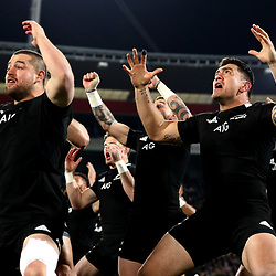 NZ's Codie Taylor (right) performs the haka ahead of the 2019 Rugby Championship Test Match between New Zealand and South Africa at Westpac Stadium in Wellington, New Zealand on Saturday, 27 July 2019. Photo by Hannah Peters / POOL
